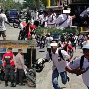 Puluhan pelajar terlibat tawuran di depan sebuah pertokoan di Lombok Tengah
